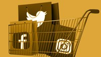 a shopping cart with logos from social medias inside - fb, twitter, instagram