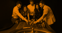 roulette table with people standing around