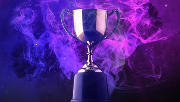 trophy in a blue smoky background